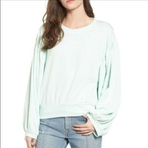 BP BNWT mint green puff sleeve crop sweater sz Med